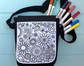 Flower Power Colour In Bag For iPad across the body strap Colouring in Adult Activity Girls Colour In Handbag Hours Of Fun Colouring In