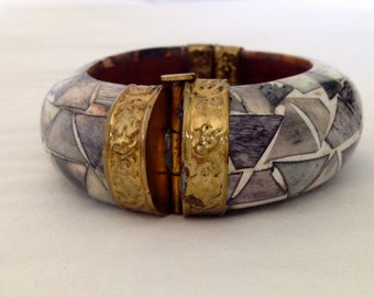 Ethnic style bracelet, cuff, shell inlay, metal copper
