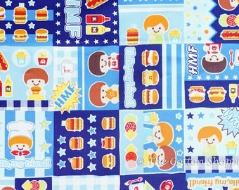 Japanese Fabric ~ Kokka Fabric ~ Push Pin ~ Chef Fabric ~ Boys Fabric ~ Blue Fabric ~ Printed Cotton Oxford ~ Quilt Fabric ~ Apparel Fabric