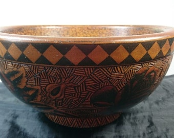 Antique Hand Stain Painted Turned Wood Pyrography Rose Flowers Bowl Early 1900's