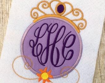Rapunzel Applique Design - Princess Applique Design - Monogram Frame Embroidery Design - Applique Design - Embroidery Design