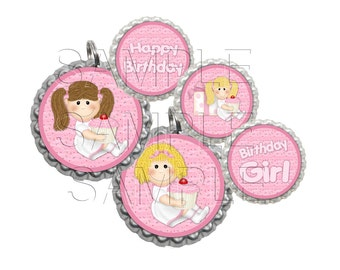 Birthday Girl Bottle Cap Images, Clip Art,1 Inch Circles, Cupcake Toppers, Stickers,Buttons, Digital Download, DIY Printable,Clipart