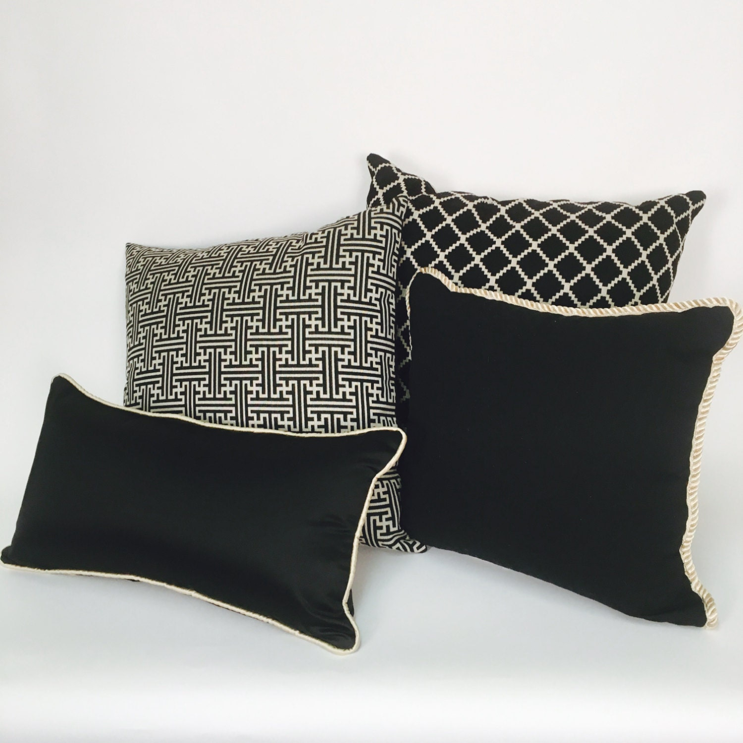 Hypoallergenic Throw Pillow Covers : Decorative Black Pillow Covers with Linen Color Background
