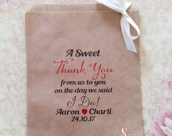 Personalised A Sweet Thank You I Do! Kraft brown Paper Candy Buffet Lolly Bags x 50