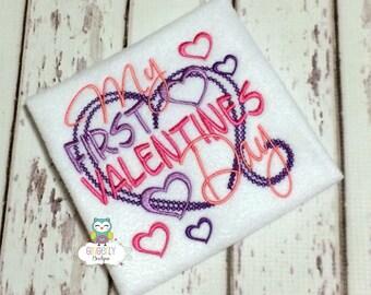 My First Valentine's Day Shirt or Bodysuit, First Valentines Day Shirt, Girl First Valentine's Day, Valentine's Day, 1st Valentines