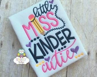 Little Miss Kinder Cutie Shirt,  Girl Back to School Shirt, First Day of School Shirt, Kindergarten Shirt, Little Miss School Shirt