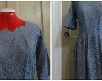 50s Lace/Taffeta Evening Dress Size XL