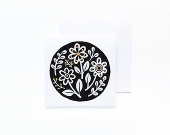Yellow Floral Notecard - Blank Interior