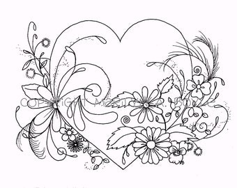 ADULT COLORING PAGE; digital download, heart and flowers, original ink drawing, zentangle, doodling