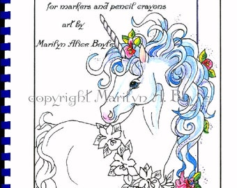 ADULT COLORING BOOK; 10 pages, fantasy, for markers, inks and pencil crayons, unicorns, pegasus, fairies, wildlife, fairy horses, foals