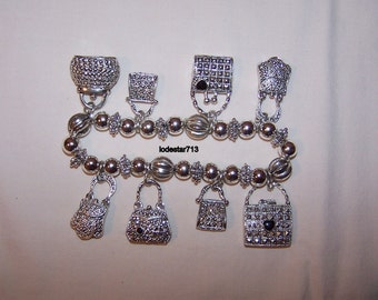 Silver Charm Bracelet Handbags Purses Stretch Bracelet Silver Beads and Purses