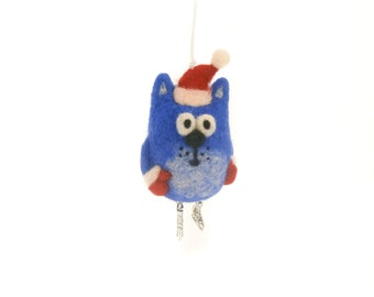 Felt cat ornament, Christmas tree decor, Gift idea for the sportsman,  Fans of figure skating,  Needle felted cat miniature, For cat lovers