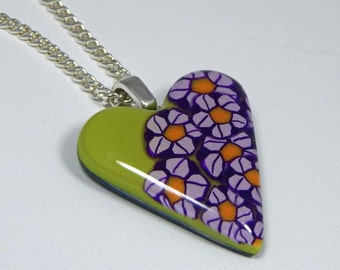 Polymer Clay Heart Necklace. Floral Heart Necklace. Spring Floral Necklace. Polymer Clay Necklace