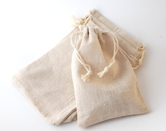 """Linen bags, 10 x 15 cm, 4""""x6"""", Favor bags, straw pouches, muslin gift bags, Cotton gift bags, Fabric bags"""