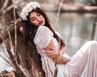 Hairband white roses