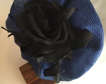 Blue beret fascinator
