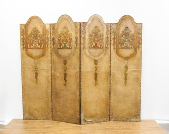 Four Panel Embossed Leather Folding Screen