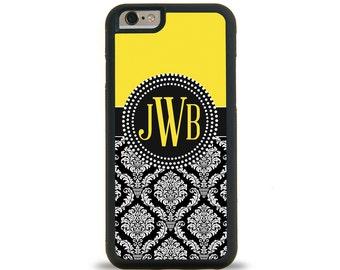 Damask Yellow Monogram Personalized iPhone Case, Monogram Personalized Galaxy Case