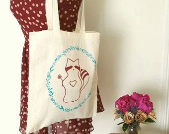 Raccoon canvas tote bag - screen printed raccoon illustration with floral wreath.