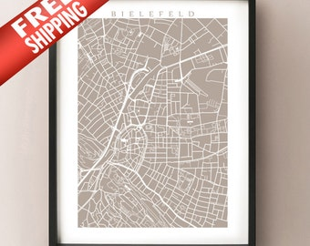 Bielefeld Map - Germany Poster Print
