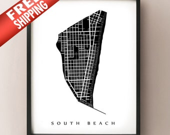 South Beach Map - Miami Beach, FL Neighborhood Art Print