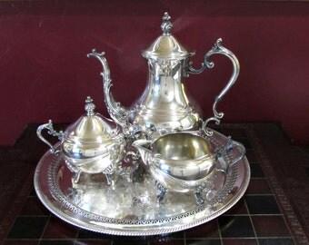 FB Rogers Lady Margaret Silver Plated Tea Service Antique 3-Piece Tea Set, Tea/Coffee Pot, Creamer, Sugar