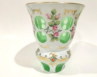 Hand Painted Cut Vase, Cut to Clear Vase, Czech Pink Rose Vase, Hand Cut Green Vase, Cased Glass Vase, Exquisite Vase