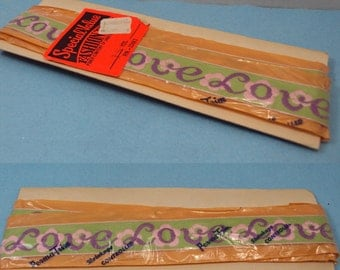 New Old Stock 60s Embroidered Purple Floral Love Trim Edge