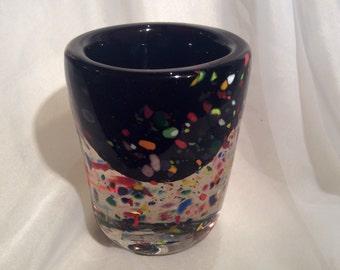 Heavy Clear, Confetti and Black Glass Cylinder Votive.  Modern Glass Art Votive Holder With Confetti.