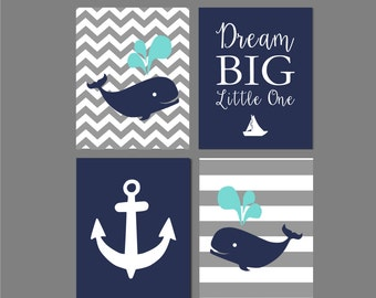 Nursery decor Whale Nursery Art Print Baby Shower Gift Gray Navy And Gray Grey Nautical Wall decor Printable Art Dream big little one