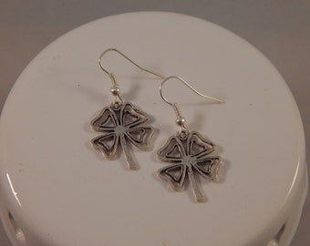 St Patricks Day Shamrock Earrings, Lucky Clover charm dangles -  Irish pride - lucky charm jewelry accessory - March birthday gift idea