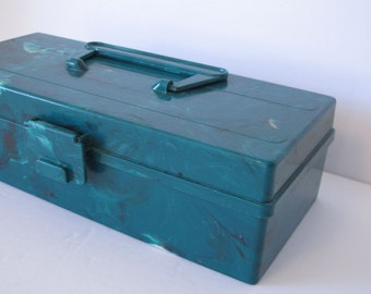 Turquoise Tool Box  Blue Tackle Box  Craft Organizer  Turquoise Toolbox Art Supplies Organizer  Vintage Fishing gear  Bakelite Tool box