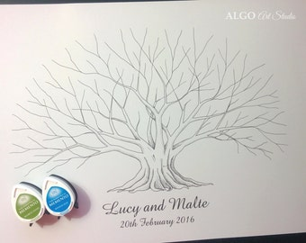 Fig Tree, Hand Drawn Tree, Custom Fingerprint Tree, Wedding Guestbook, Personalized Tree Sign Guest Book, Thumbprint Tree + 2 INK PADS