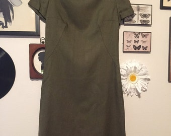 SALE 60s Olive Green Dress