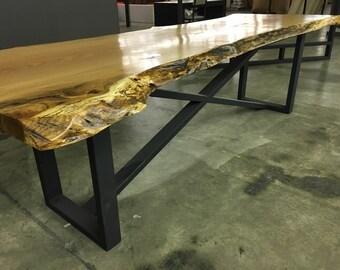 Live Edge Slab Table on Steel Base