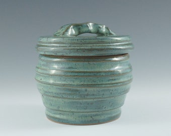 Small blue-green lidded jar, right size for jewelry,sugar or salt bowl.