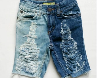 The JayJay boy denim jean cutoff shorts bleached distressed destroyed ripped any size