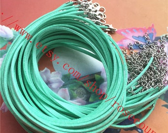 Wholesale 100pcs 16 inch 2.5x1.5mm mint green suede leather cord necklace with lobster clasps plus 2 inch extender