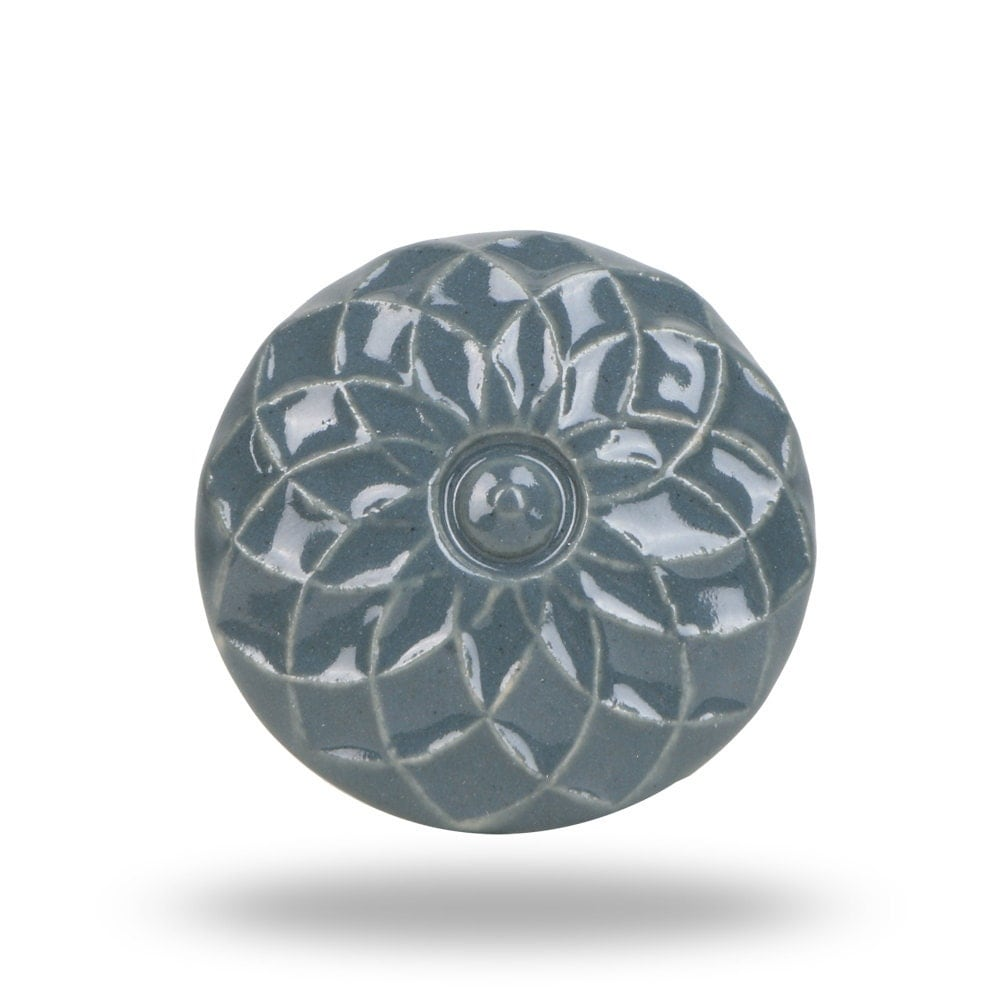 Ceramic Furniture Knob Dark Grey With Flower Design