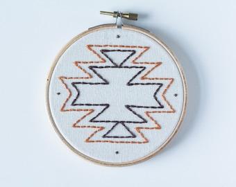 Handmade embroidery aztek print in hoop