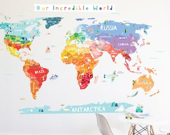 World Map Wall Decal - Our Incredible World  World Map Wall Decal with Personalization stickers - Wall Sticker - Room Decor - World Map