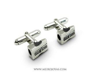 Pencil Sharpener Cufflinks Sterling Silver / Gemelos Mancuernas Sacapuntas Plata 925