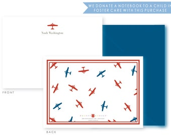 Personalized Everyday Stationery, Preppy Airplanes, Boxed Set of 10 Notes & Envelopes