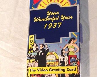 Vintage Collectibles  Flikbanks 1937 Your Wonderful Year Video Greeting Card-Original Box  Copyright 1990