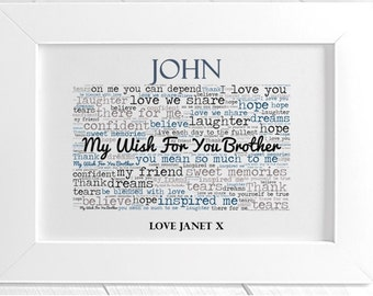 Personalised Brother Framed Word Art - Brother Wish
