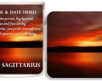 Personalised Sagittarius Mug & Coaster Gift Set - Zodiac Birth Star Sign