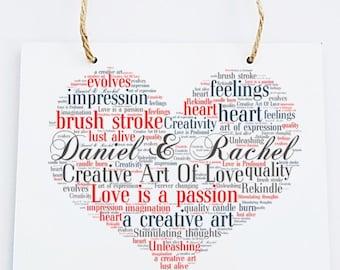 Personalised Love Word Art Wooden Hanging Plaque - Creative Art of Love
