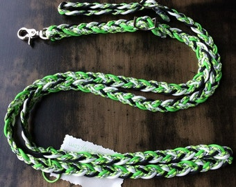 "Adjustable Paracord Reins / Dog Leash - ""Bio Sludge"" - Lime Green/Black/Glow - 8.5ft long"