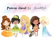 Cute princess clipart set 2 : Instant Download PNG file - 300 dpi