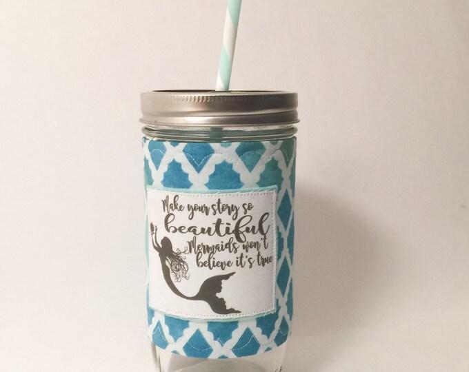 Mermaid Quote Mason Jar Tumbler 24oz with Insulated Mason Jar Cozy BPA Free Straw